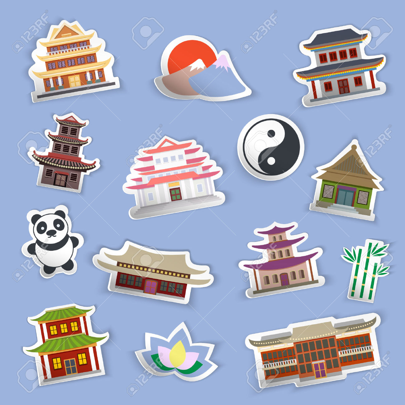 Chinese House And Traditional Culture Symbols Stickers Isolated.