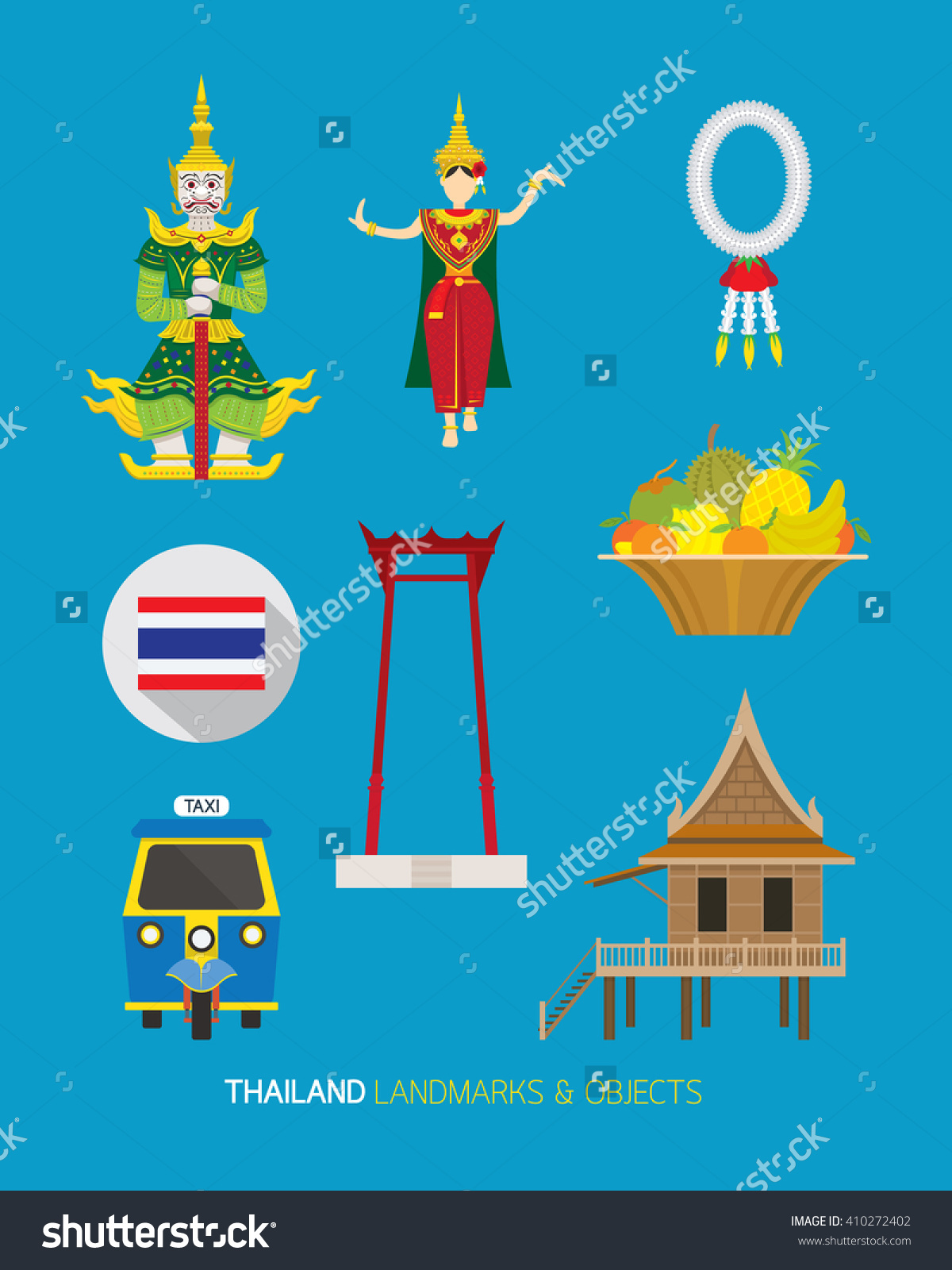 Thailand Traditional Culture Objects Set Landmark Stock Vector.