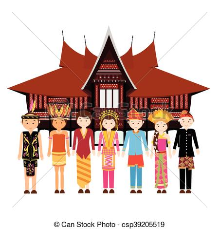 Vector Clip Art of Indonesia ethnic group wearing traditional.