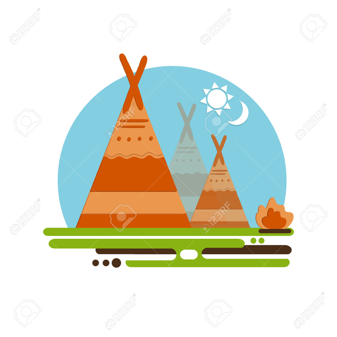 Indian Teepee Vector Concept. Native American Indian House. Indian.