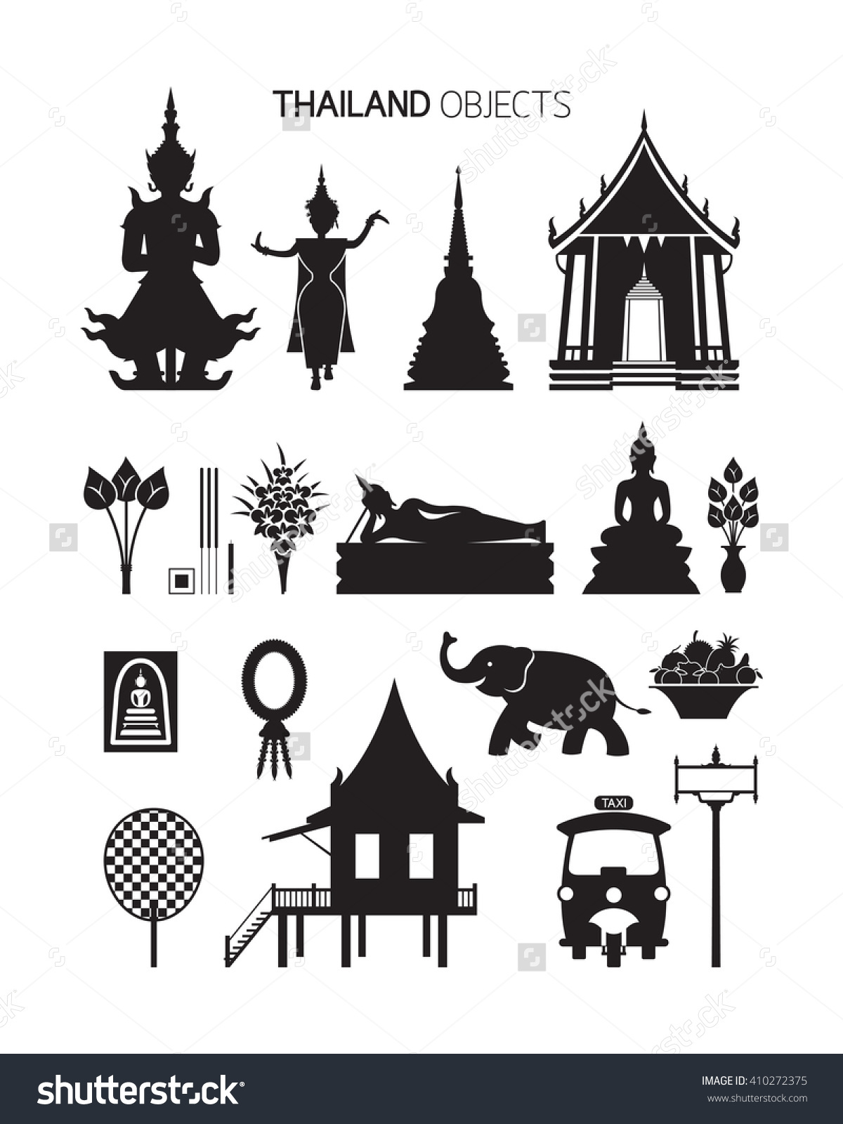 Thailand Culture Objects Silhouette Set Traditional Stock Vector.