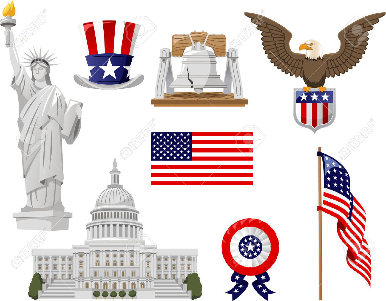 American Culture Vector Illustration Icons, Such As Top Hat.