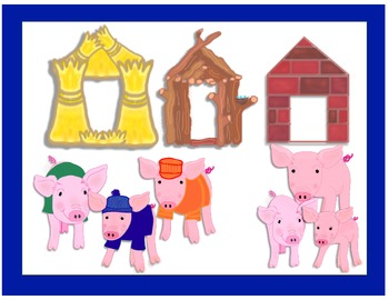 Three Little Pigs Houses Clip Art.