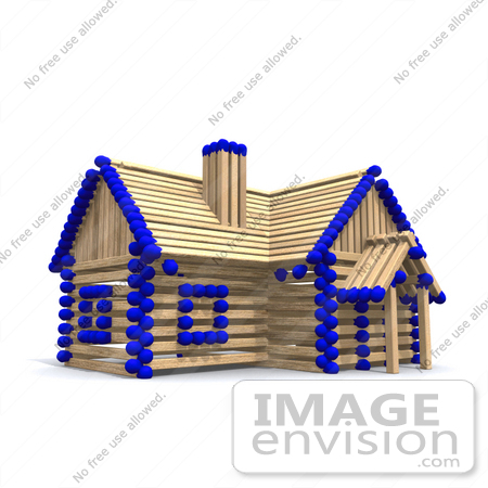 27164 Matchstick Home With Blue Tips, Symbolizing A Stick Built.