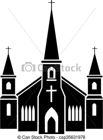 Vectors Illustration of church, gothic, religious building a house.