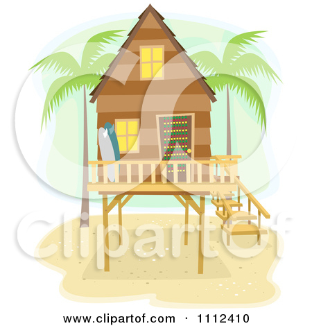 Clipart Beach House On Stilts With Palm Trees And Surf Boards.