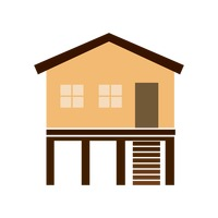 Free House with basement Vector Image.