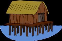 Clipart house on stilts.