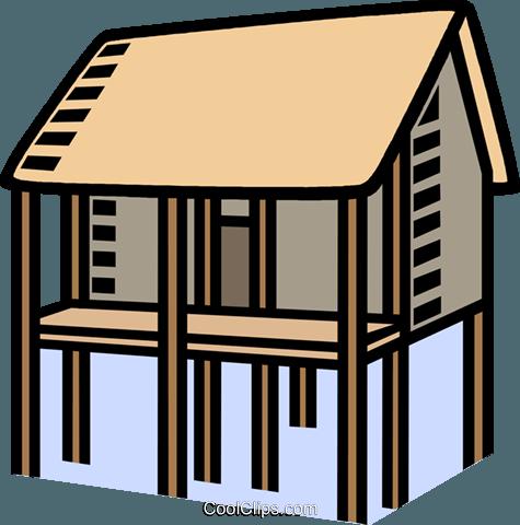 house on stilts, flood Royalty Free Vector Clip Art illustration.