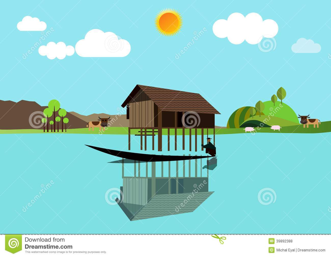 House Above The Water Stock Illustration.