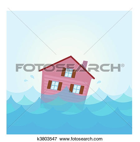 Clip Art of House flooding under water k3803547.