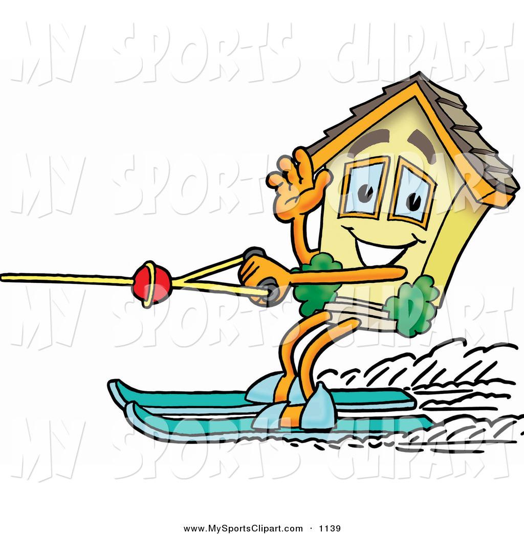Sports Clip Art of a House Mascot Cartoon Character Waving While.