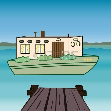 House floating on water clipart.
