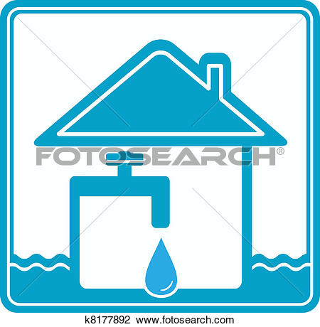 Clip Art of water sign with tap, house and wave k8808452.