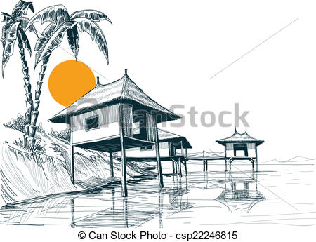 Vector Clip Art of House built on water or water bungalows sketch.