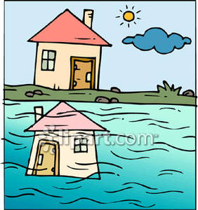 Drawing of a House with Its Reflection In Water.