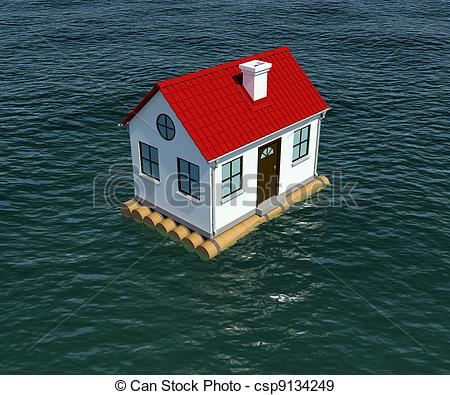 Stock Illustration of House on wooden raft floats on water. 3d.