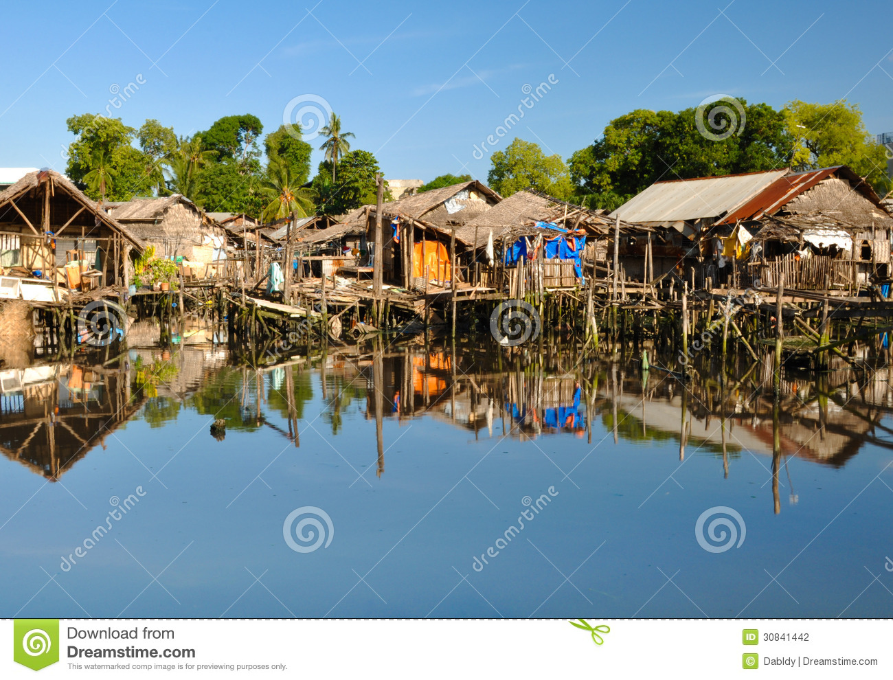 House close to water clipart.