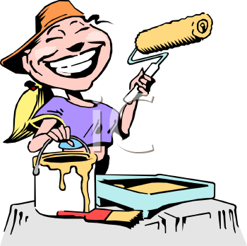 Royalty Free Clip Art Image: Female House Painter.