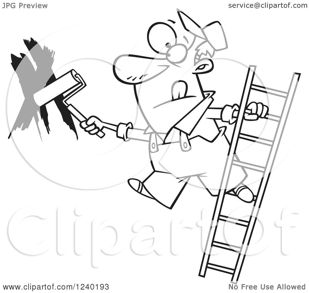 Clipart of a Black and White Man Painting a Wall and Leaning off.