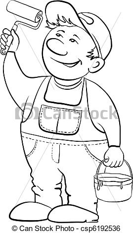 Clip Art Vector of Worker house painter, contour.