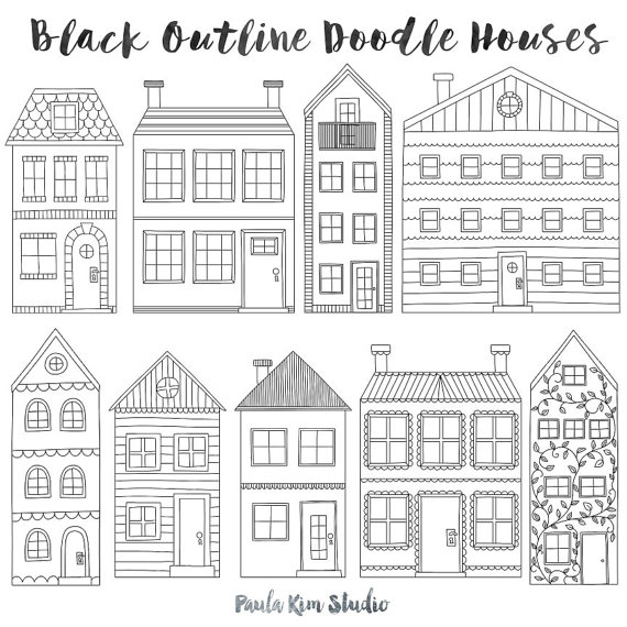 Townhouse Clip Art, Black Outline House Clipart, Handmade Digital.