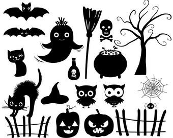 Halloween clip art set Cute Halloween Images Haunted House.