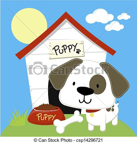 Vector Illustration of cute puppy and dog house, individual.