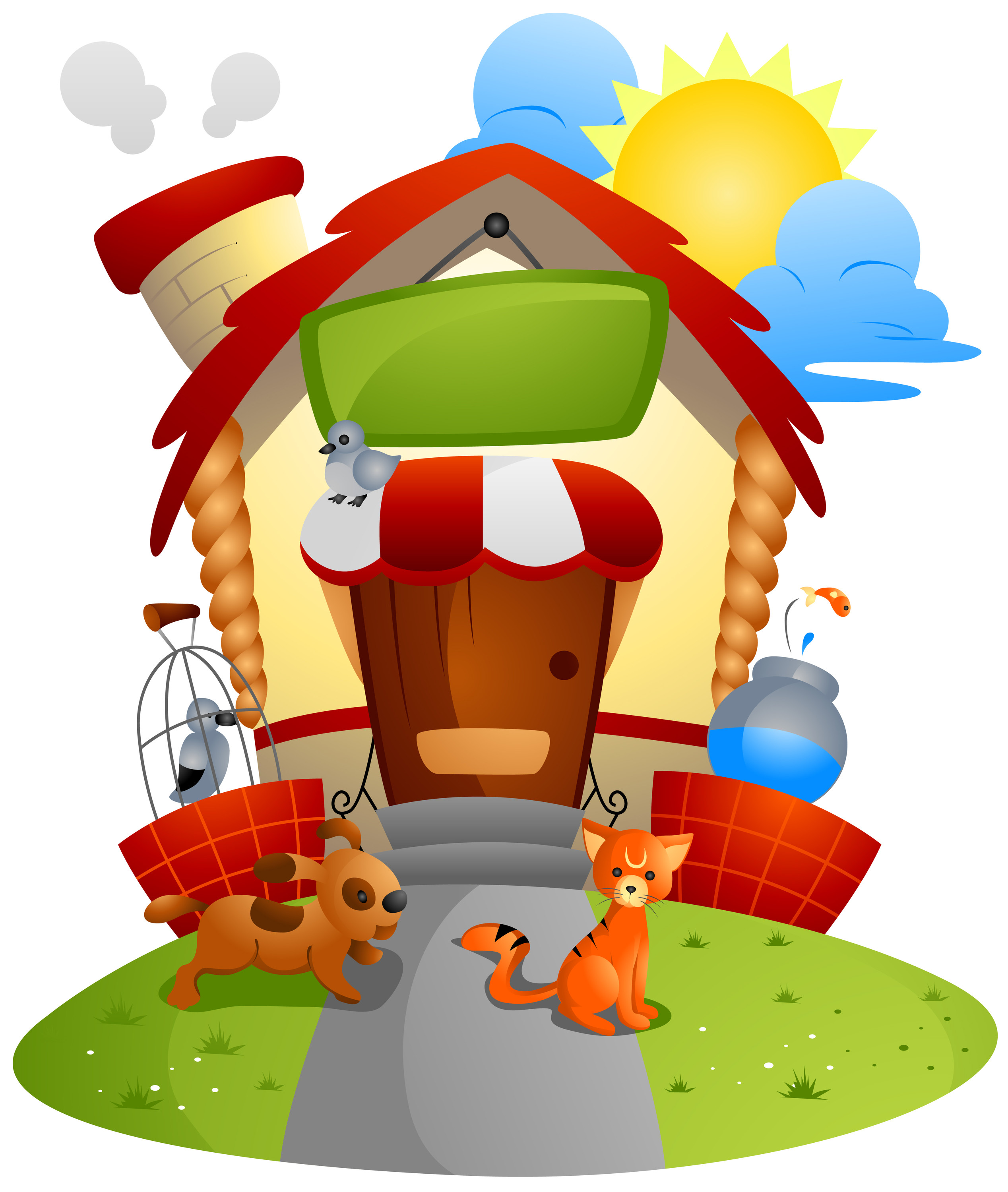 House Pet Sitting Clipart.