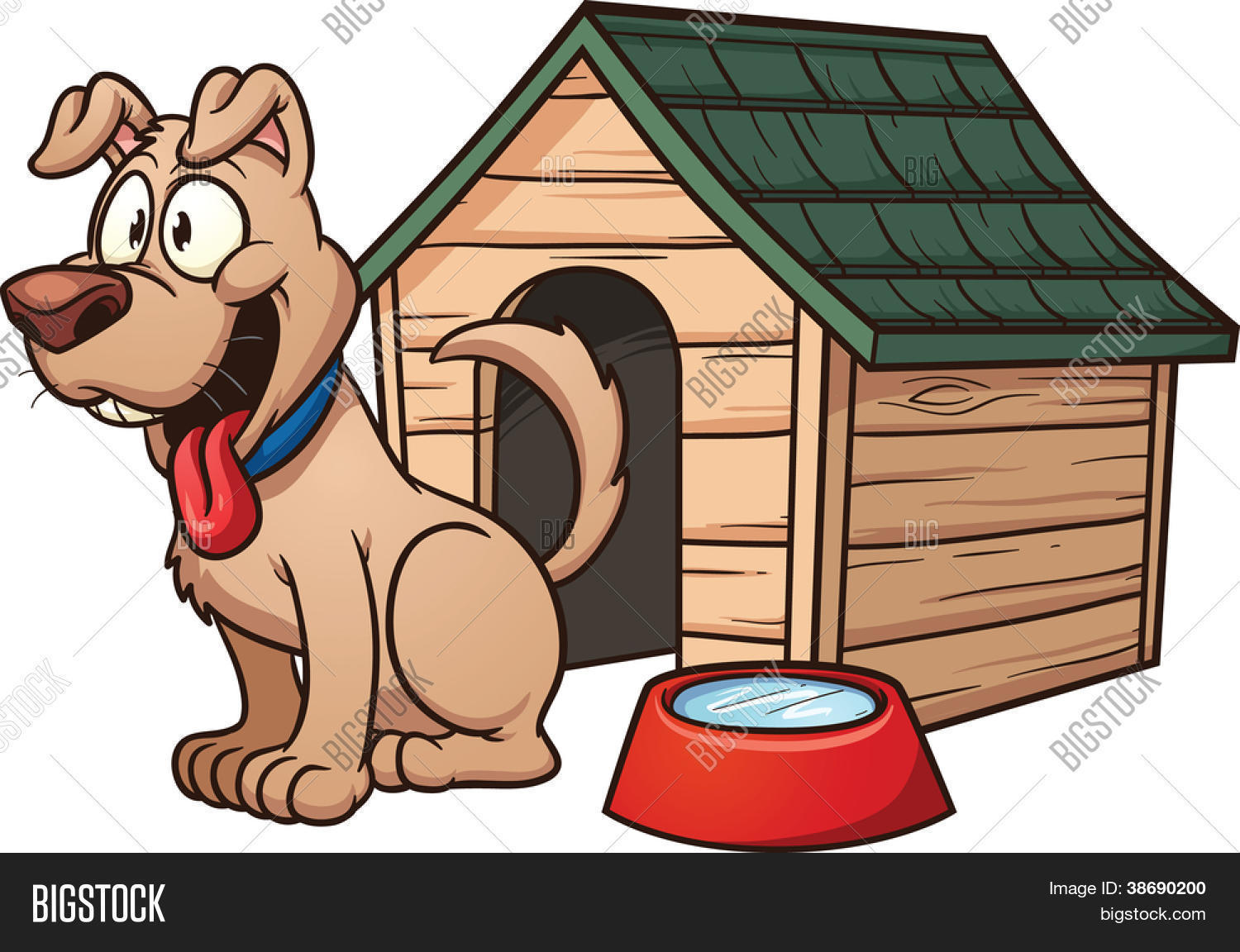 Cartoon dog house. Vector clip art illustration with simple.