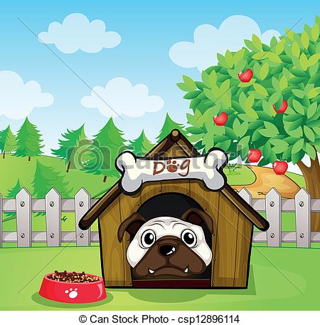 Vector Clip Art of A dog inside a dog house.