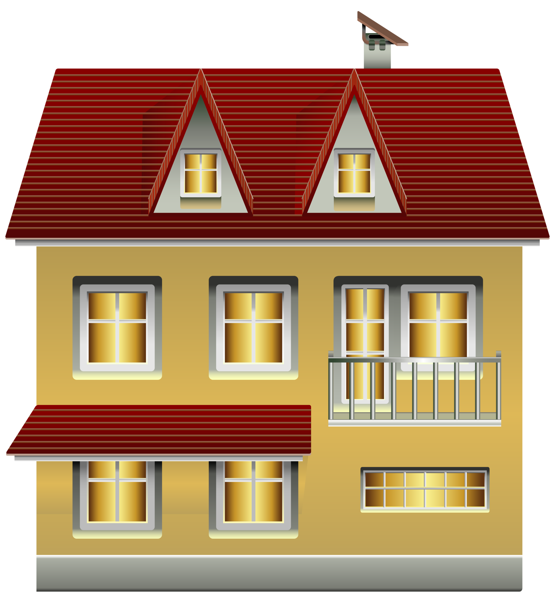 Yellow House PNG Clip Art.