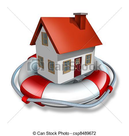 Clip Art of House Insurance.