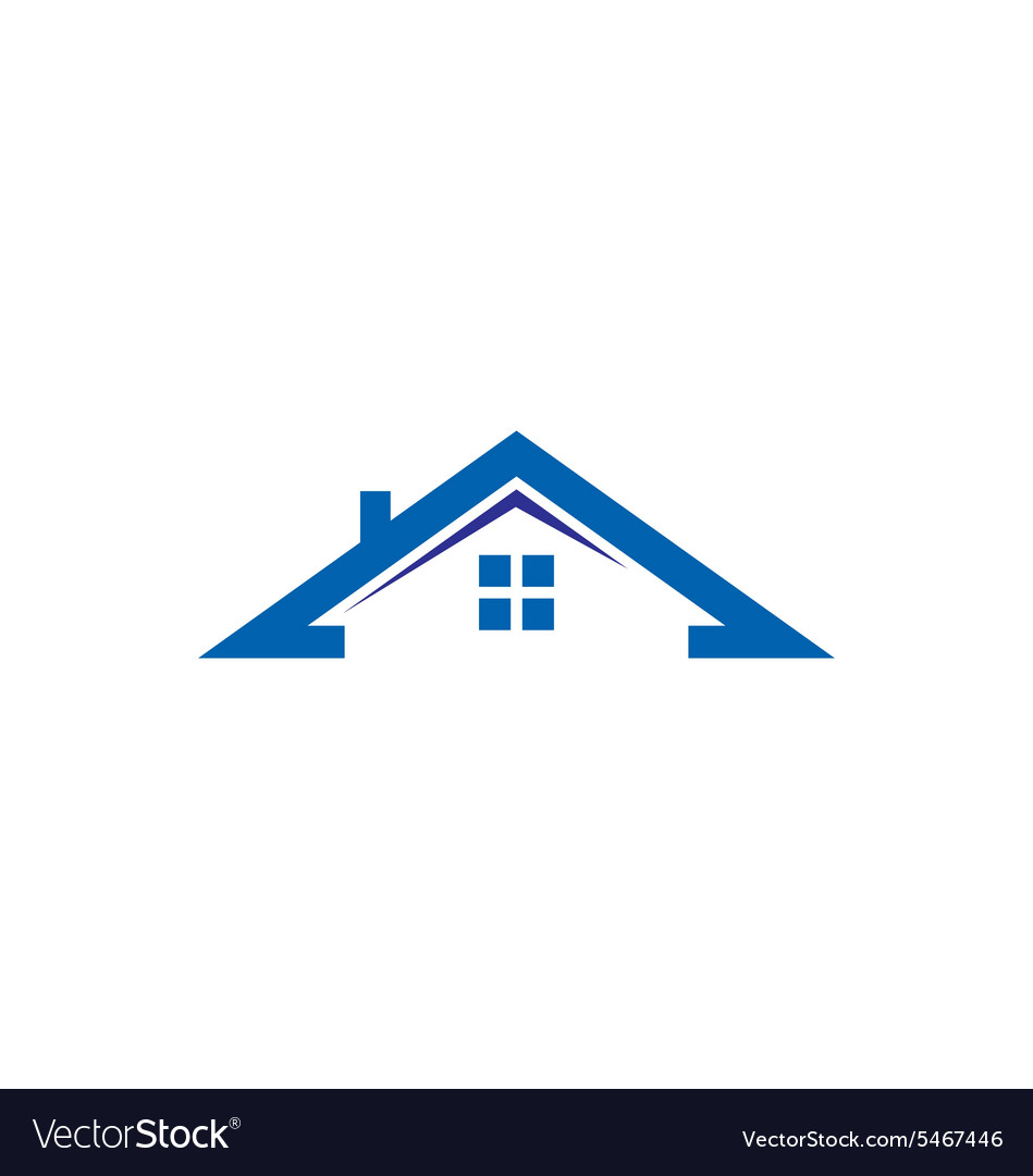 House roof construction realty logo.