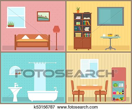 Furnishing interior rooms on home. interior view house rooms Clip Art.