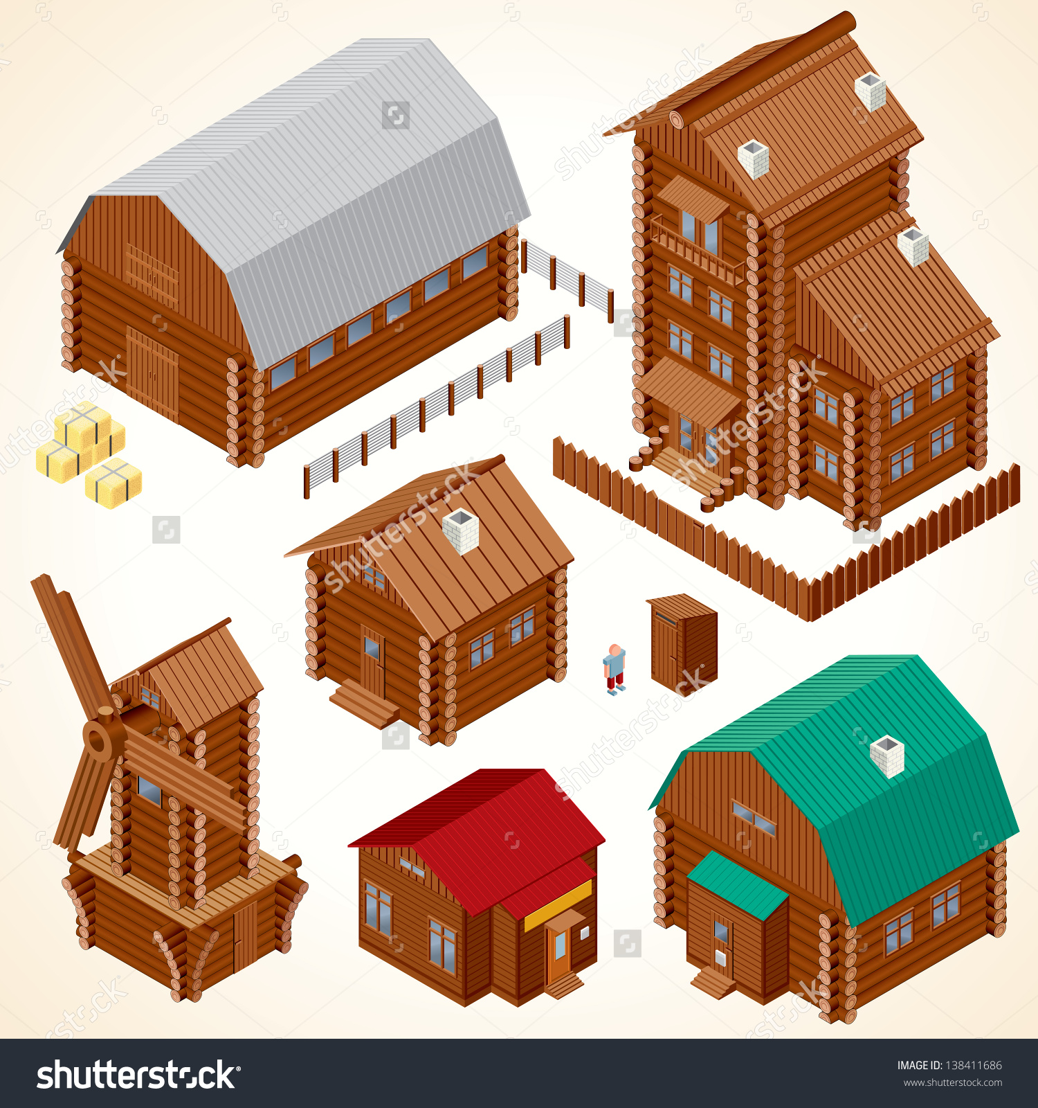 Isometric Wooden Houses Rural House Log Stock Illustration.