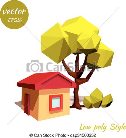 Clipart Vector of Tree and a rustic house on a white background.