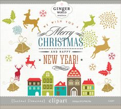 Christmas clipart, rustic christmas, mason jars, Ribbon, deer.