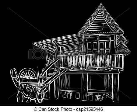 EPS Vector of Wooden house sketch.