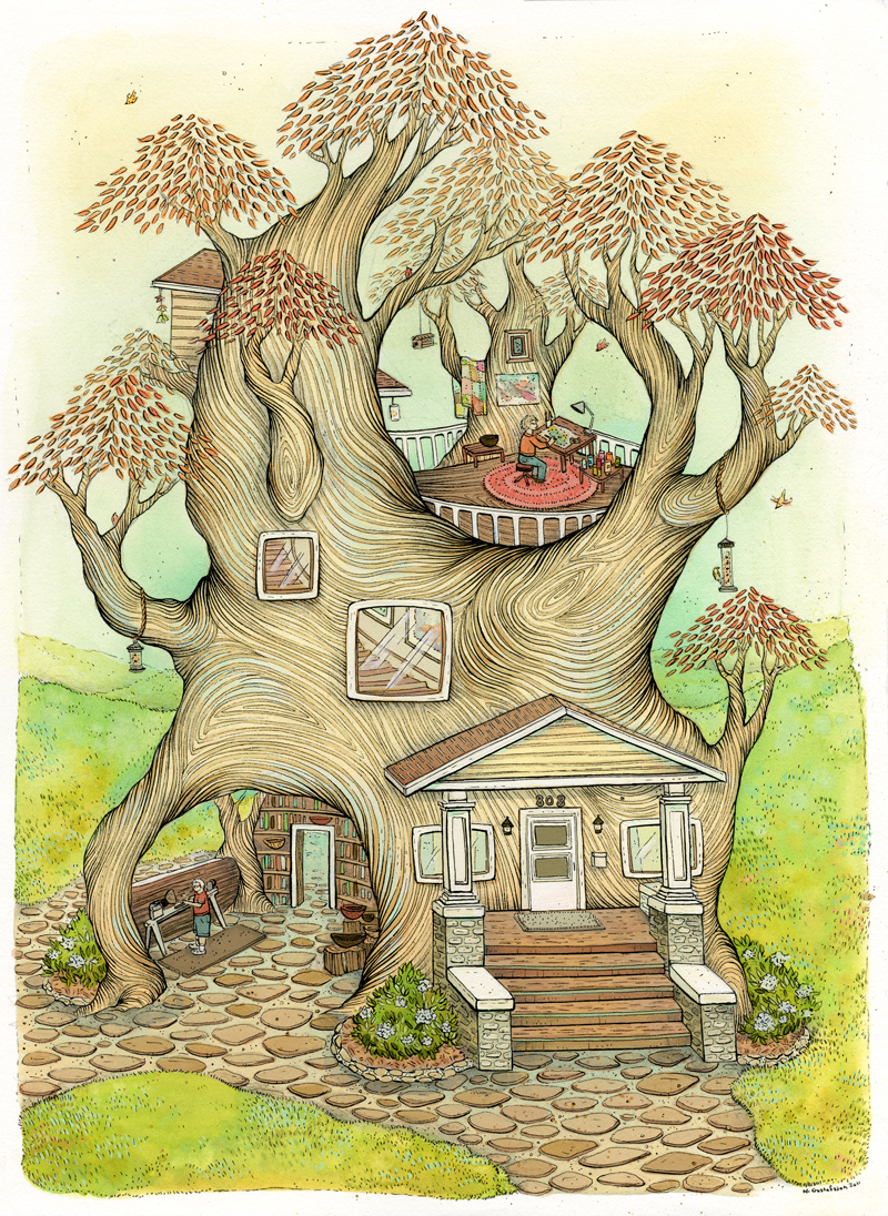 Image result for how to draw a tree house.