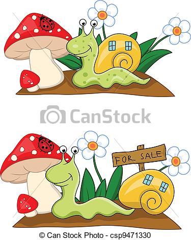 Vector Clipart of Snail with house csp9471330.