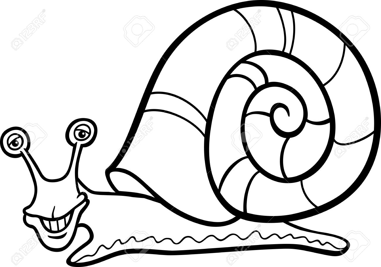 Black And White Cartoon Illustration Of Funny Snail Mollusk With.