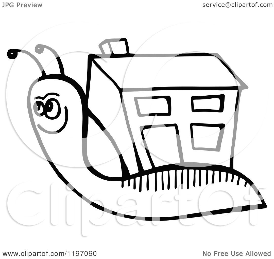 Clipart of a Black and White Snail with a House Shell.
