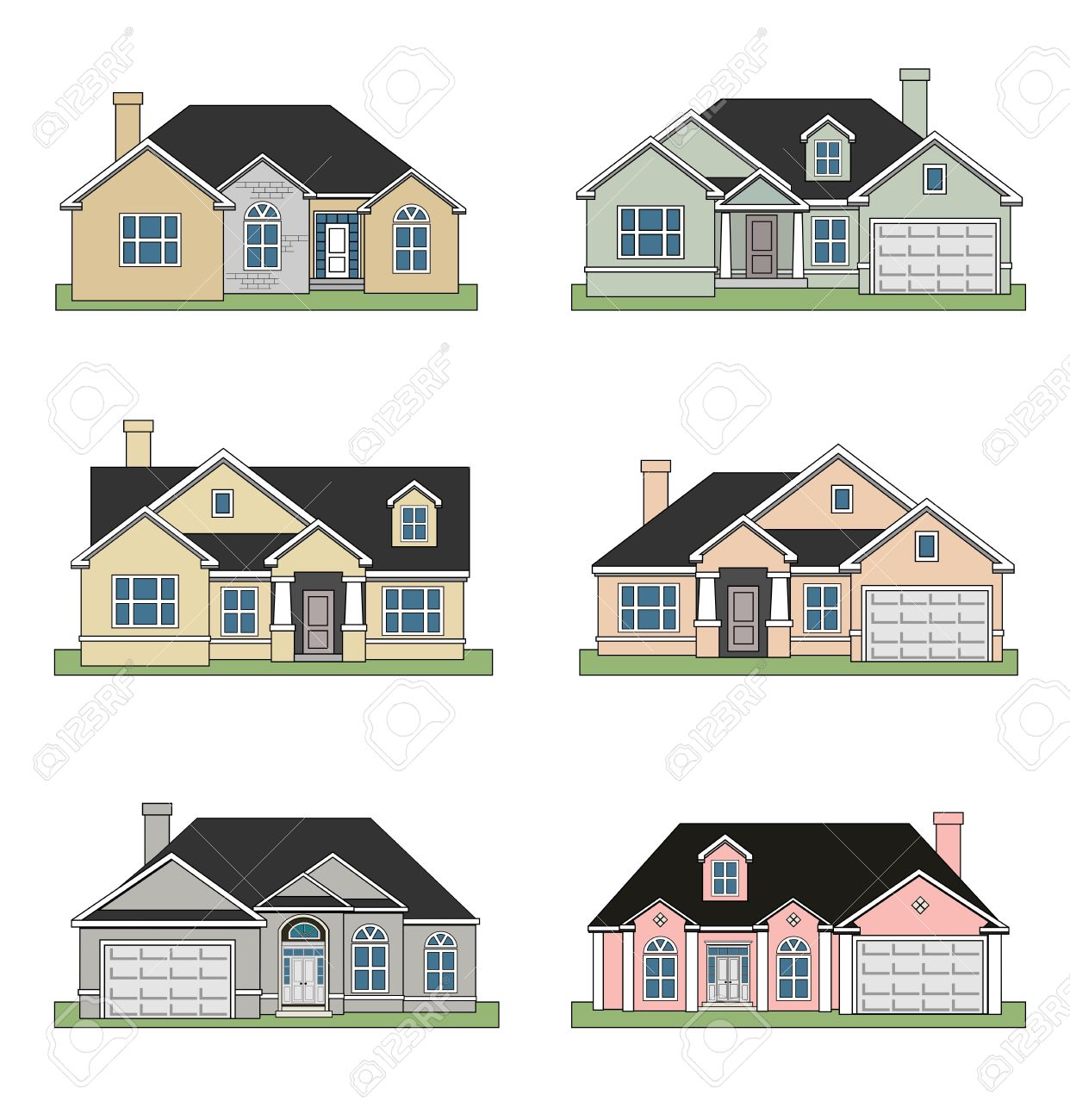 Ranch Style House Clipart.