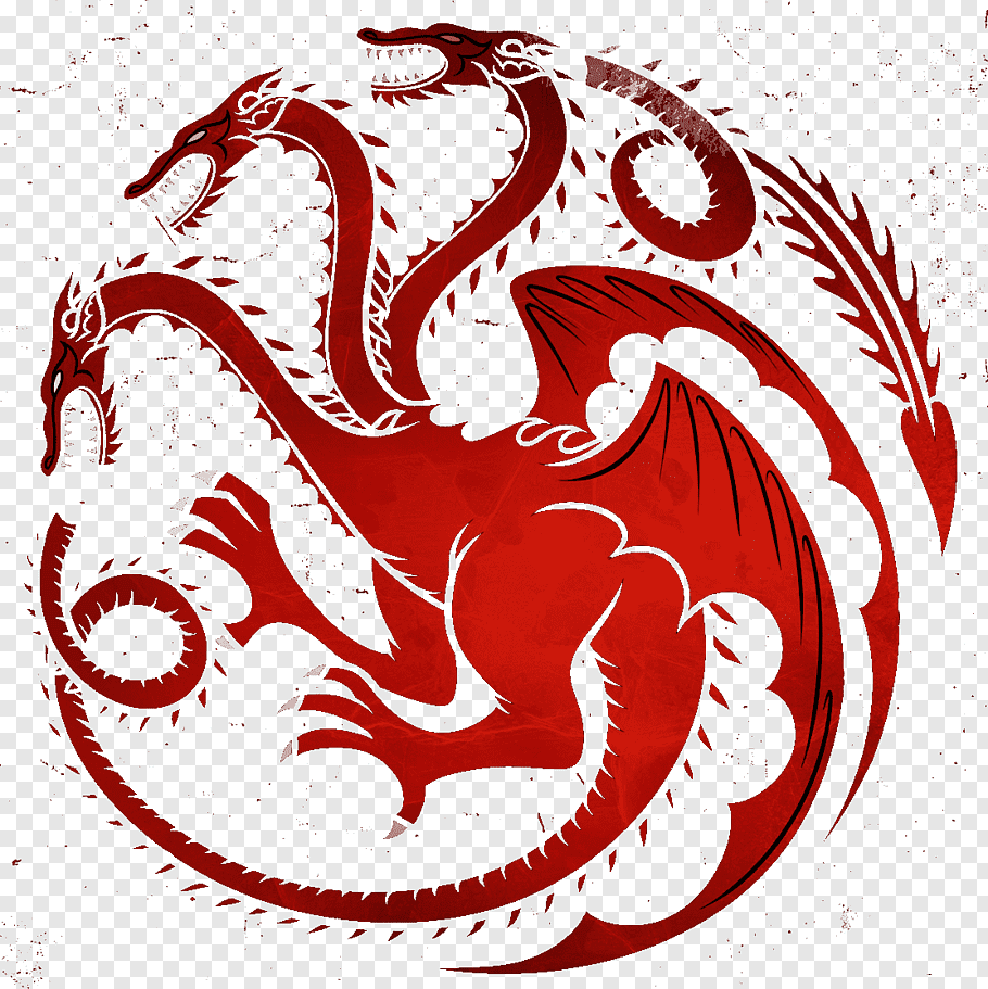 Hydra dragon illustration, Daenerys Targaryen House.