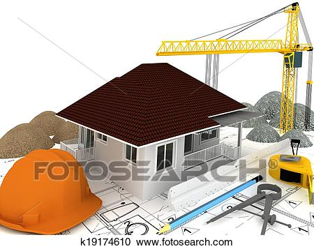House under construction Clipart.