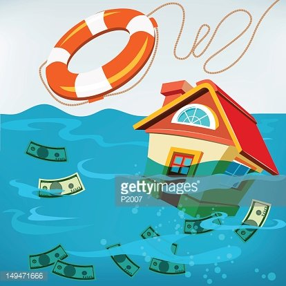 Underwater House Rescue Clipart Image.
