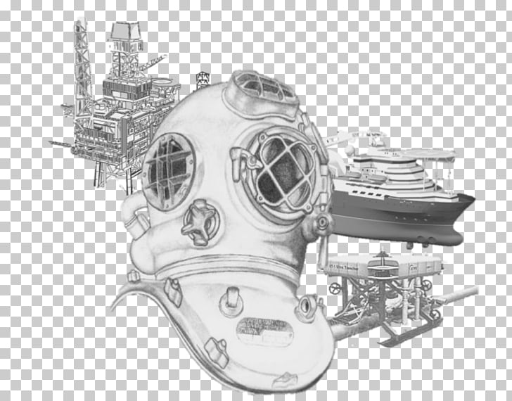 Diving helmet Drawing Underwater diving Scuba set Art.
