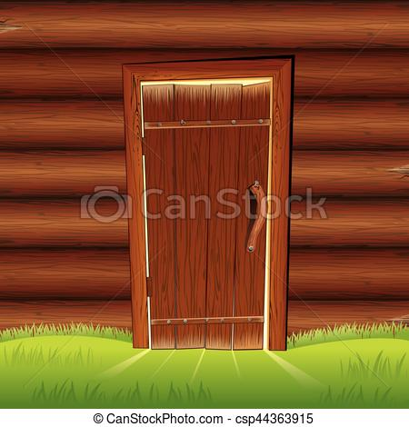 Vector Clip Art of Old Door on Wooden Log Wall. Log House Facade.