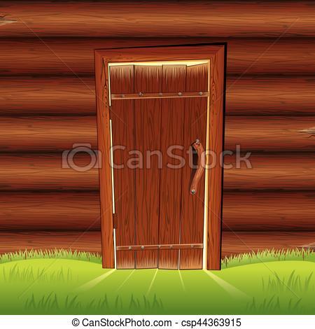 Vector Clip Art of Old Door on Wooden Log Wall. Log House Facade.